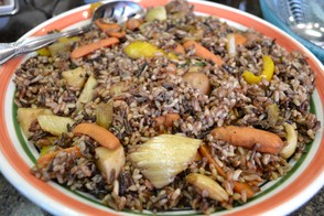 Wild rice salad with roasted vegetables.