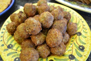 Fried eggplant meatballs.