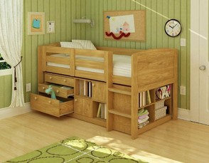 Low Junior Twin Size Loft Bed with Dressers Underneath