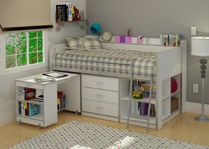 Wood Junior Low Loft Bed with Desk Dresser & Shelves Underneath