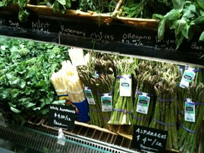 Fresh asparagus and other produce
