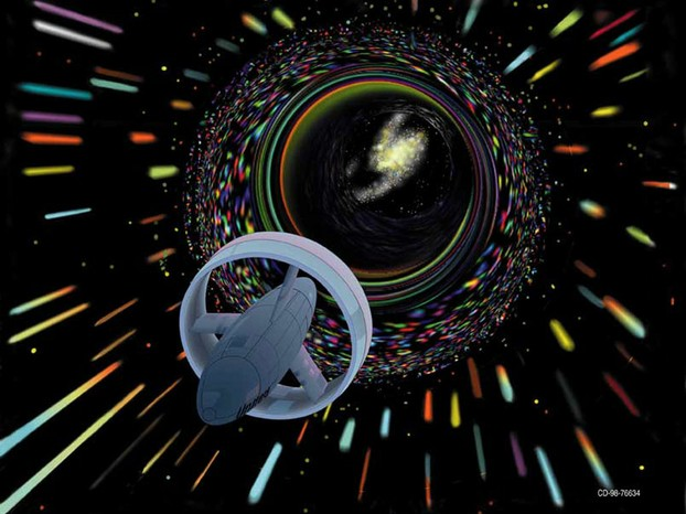 artist's conception of wormhole travel