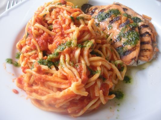 Spaghetti with Grilled Lake Trout.