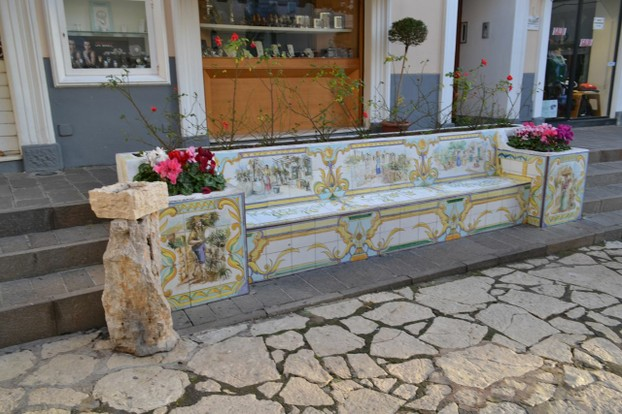 Capri is known for its ceramic arts...even on public benches!