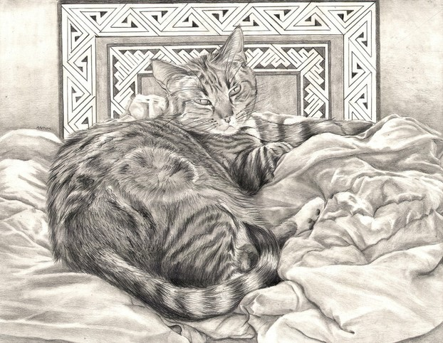 """Mischief Takes a Rest"" - Pet portrait by Nicole Pellegrini"