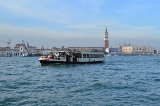A vaporetto water bus in Venice