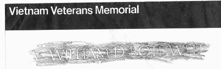 Rubbing from the Vietnam Veterans Memorial Wall