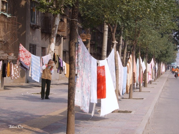 Hanging Sheets to Dry in the Streets of Xi'an