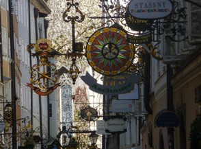 Salzburg's Wrought Iron Signs are Attractive Shop Names