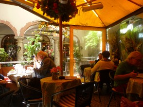 Pleasant Restaurant out of the Sun in one of Salzburg's lanes