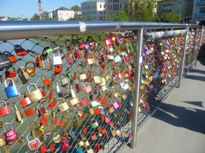 Bridge over the Salzach River adorned with Lovers' Locks