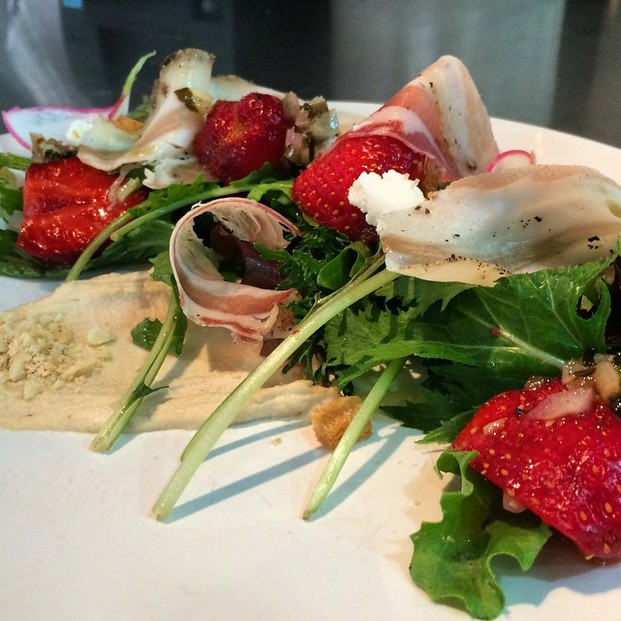 Strawberry salad, house cured pancetta, almond butter, goat cheese, grilled fennel vinaigrette