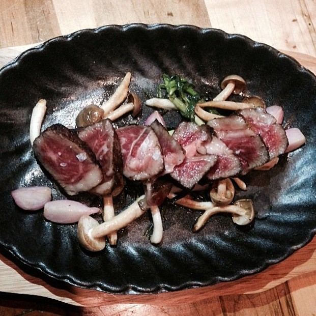 Japanese Wagyu rib eye (Grade A5) with radish, wild onion, mushrooms & ponzu sauc