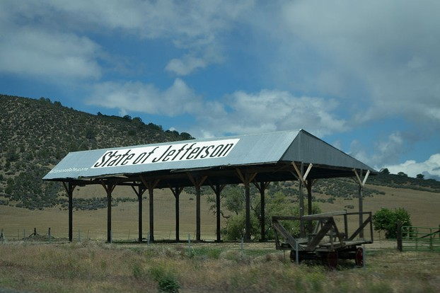 A barn near Yreka, California, and the proposed capitol of the State of Jefferson