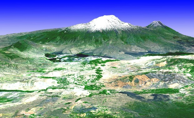 3-D view from southwest: simulated natural color image over ASTER-derived digital topography model