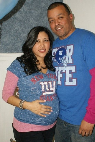 Wearing their New York Giants Jerseys