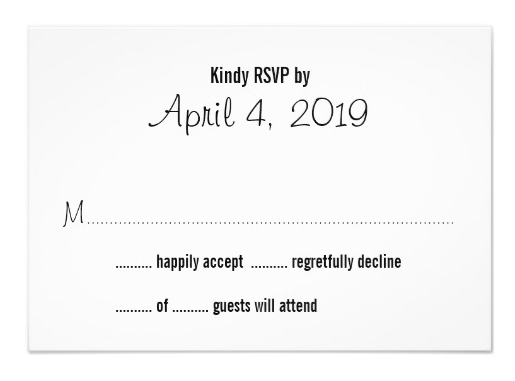 Simple Guest Count Rsvp Cards