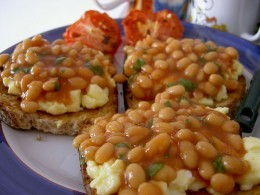 Beans over eggs over toast. Tasty, but those canned beans might not be too good for you.