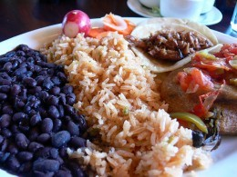 Here's some tasty black beans with rice and a taco. Looks scrumptious!