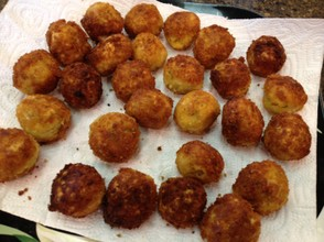 "Polpettini (tiny fried meatballs) of tuna, lemon and anchovy. From ""Cicchetti and Other Small Italian Plates to Share""."
