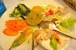 Seafood and vegetable cicchetti