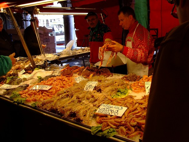 Fresh seafood for sale in the Rialto Fish Market
