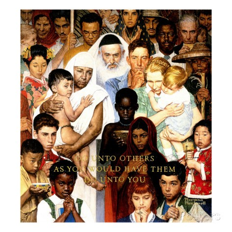 """Golden Rule"" (Do unto others), April 1,1961  By: Norman Rockwell"