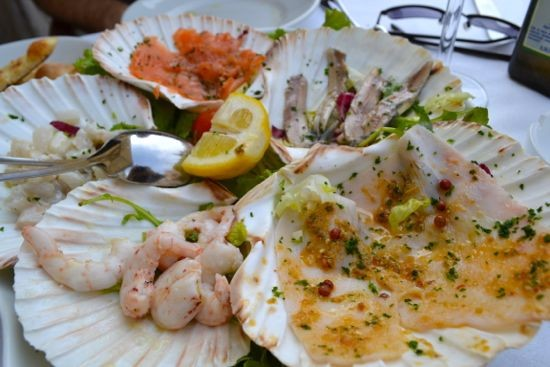 A raw seafood antipasti plate in Venice