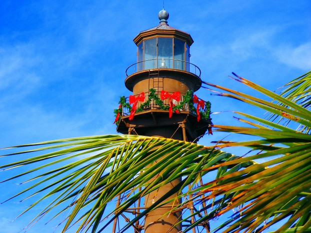 Sanibel Island Light at Christmas Time