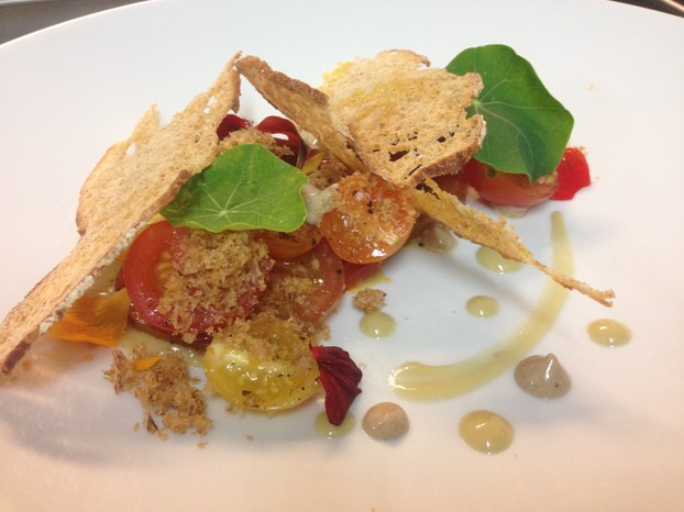 Heirloom tomato and nasturtium salad, shaved katsuobushi, black garlic aïoli, cultured ramp vinaigrette, sourdough.