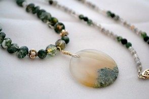 Moss agate necklace with silver and polished Czech glass