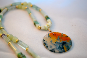 Fiery moss agate set off with new jade
