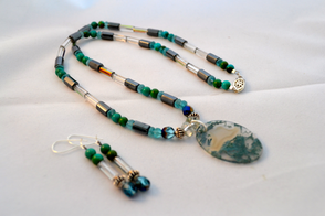 Moss agate with turquoise and hematite