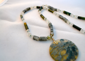 Moss agate with moonstone