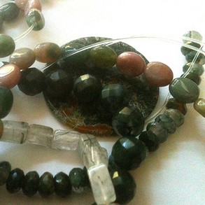 Moss agate beads in my collection