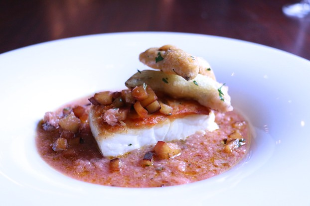 Oven Roasted Halibut served over Watermelon & Rhubarb Gazpacho with Tempura Snap Peas & Peppered Plum