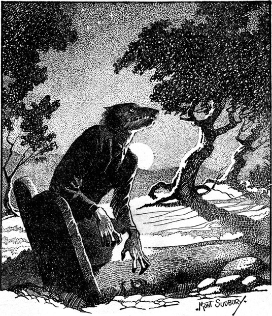 "Drawing of a werewolf in woodland at night. Illustration for the story ""The Werewolf Howls""."