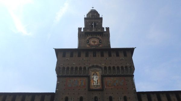 Exterior of the Sforza Castle in Milan.