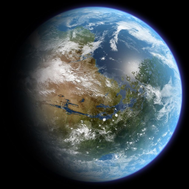 Artist's conception of a terraformed Mars, approximately centered on prime meridian, 30 degrees north latitude