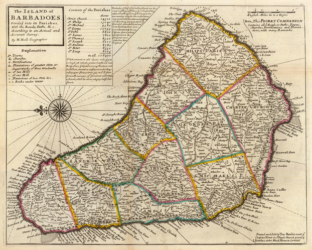 Herman Moll: The Island of Barbadoes. Divided into its Parishes (1736)