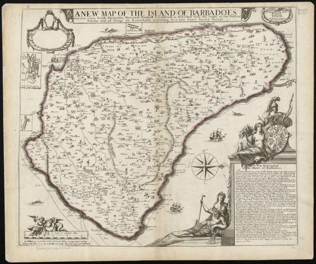 Philip Lea: A new map of the Island of Barbadoes (1686)
