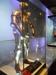 Historic armor on display in the Tower's museum collection.
