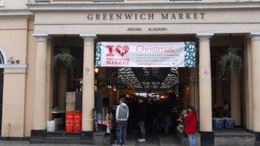 Greenwich Market, where you can sample foods & shop in numerous stands.