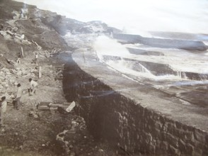 Victorian photograph of the sea wall at Binnel Bay, washed away almost as soon as it was constructed