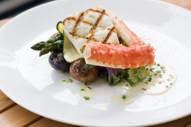 Daily Seafood Duo - rotating seafood & sauces, roasted new potatoes, seasonal vegetables.