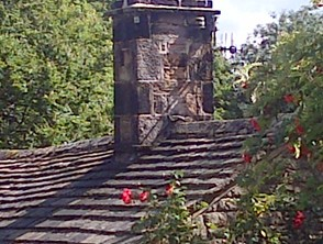 Local slate roof and stone chimney