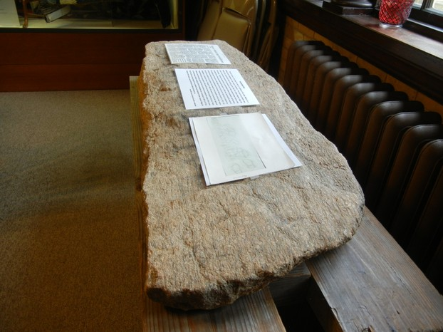 Bourne Stone on Display at the Boure Historical Society