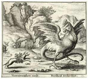 The basilisk and the weasel by Wenceslas Hollar