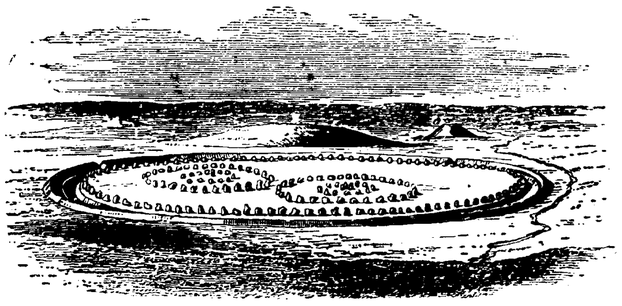 The postulated original layout of the circles at Avebury