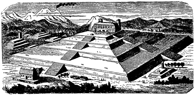 Teocalli at Cholula first published in the Nordisk familjebok, a Swedish encyclopedia